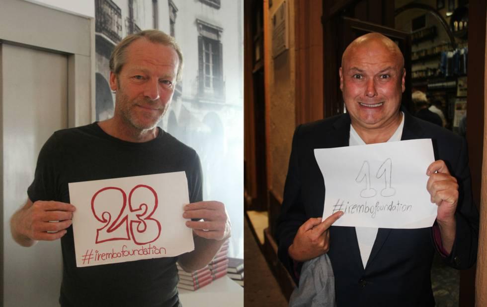 Conleth Hill e Iaian Glenn, de 'Game of Thrones', posando para a campanha de arrecadação de fundos da Irembo.