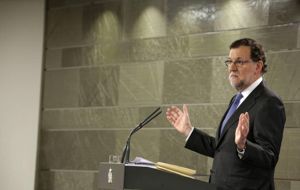Mariano Rajoy en conferencia de prensa, tras comunicarle al Rey que no cuenta con apoyos para la investidura.