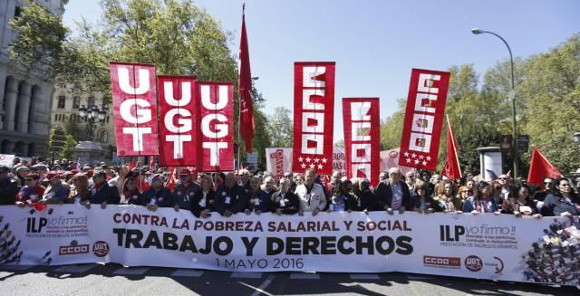 Cabecera de la manifestación en Madrid.