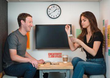Selena Gomez celebra con Mark Zuckerberg su éxito en Instagram