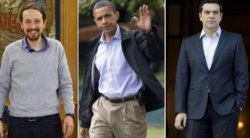 Pablo Iglesias, Barack Obama y Alexis Tsipras.