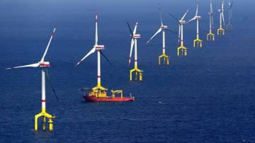 Primer parque de molinos de viento de EDP en el Atlántico portugués.