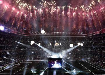 Celebración del Madrid en el estadio Santiago Bernabéu.