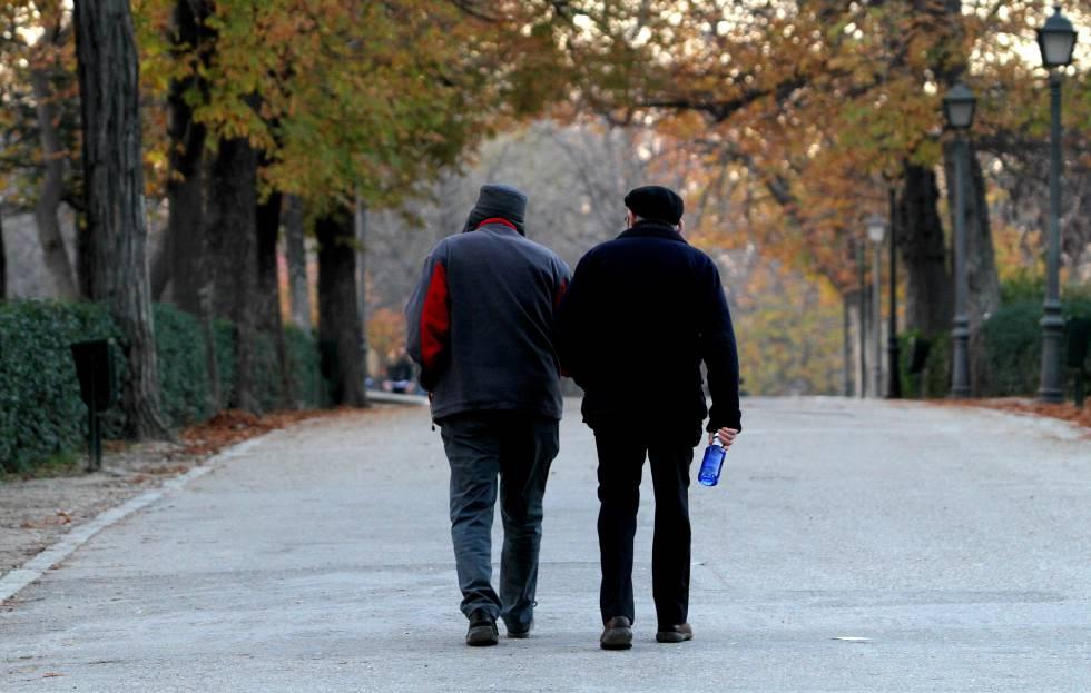 Dos hombres pasean por el parque del Retiro de Madrid.