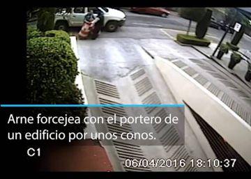 La pelea con un portero desde una cámara de seguridad