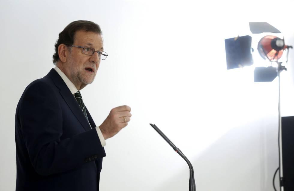 Mariano Rajoy, durante su intervención en la inauguración de la nueva sede del Consejo General de Procuradores de España en Madrid.