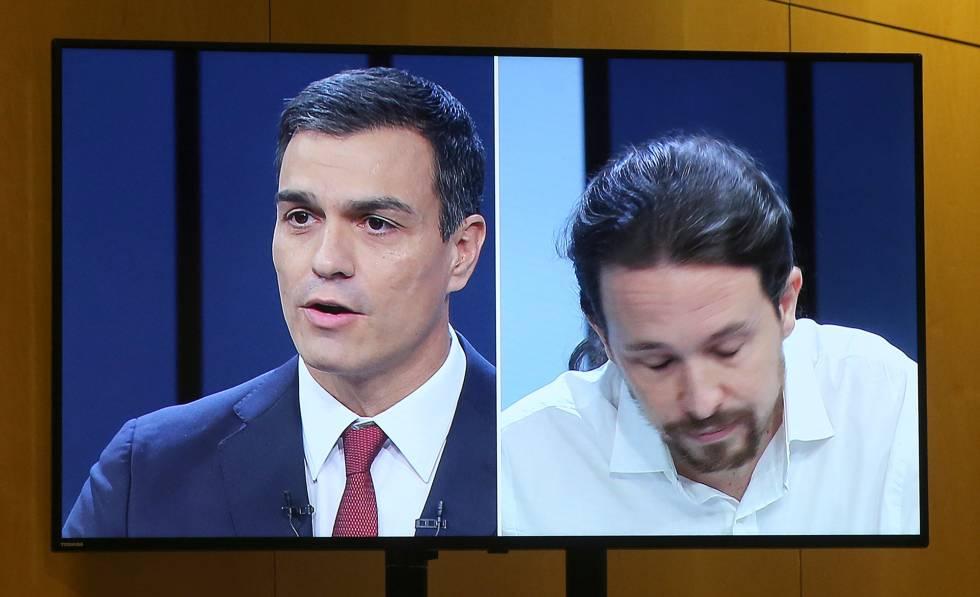 Pedro Sánchez y Pablo Iglesias en una imagen de televisión del debate del pasado 13 de junio.