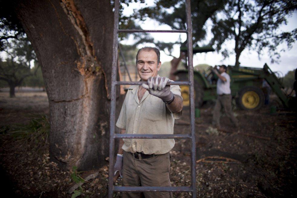 Ángel Artero, 58 años, lleva 40 años como descorchador.rn