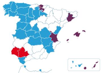 Partidos que más escaños consiguen en cada provincia