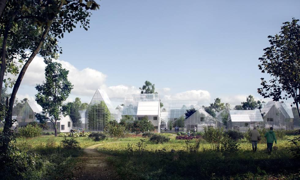Imagem da ReGen Villages gerada por computador.