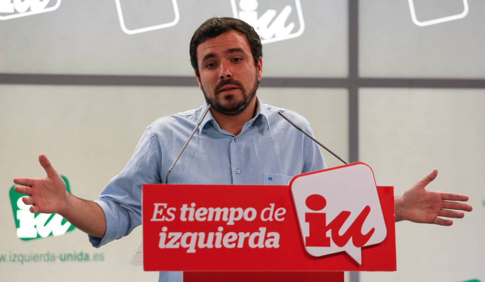 Rueda de prensa de Alberto Garzón en la sede de IU para analizar los resultados del 26-J.rn