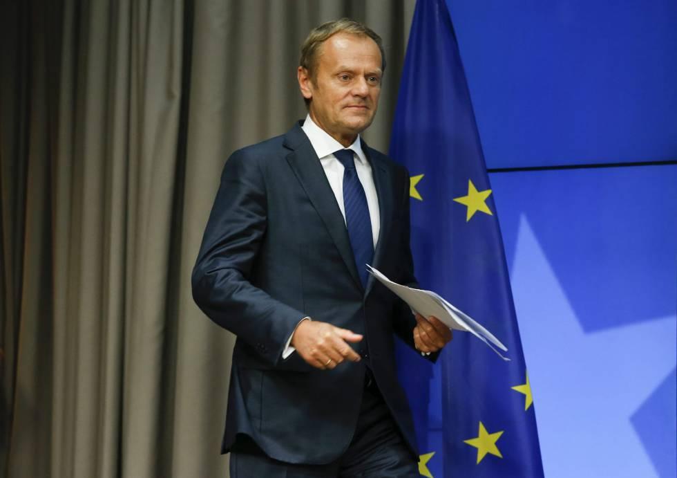 Donald Tusk, tras la reunión del Consejo Europeo en Bruselas del 29 de junio.