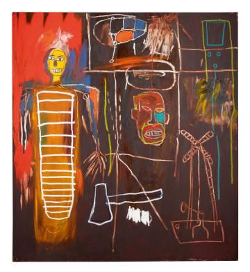 Acrílico de Jean-Michel Basquiat. Obra Air Power (1984). Precio subasta:  2.5 a 3.5 millones de libras.