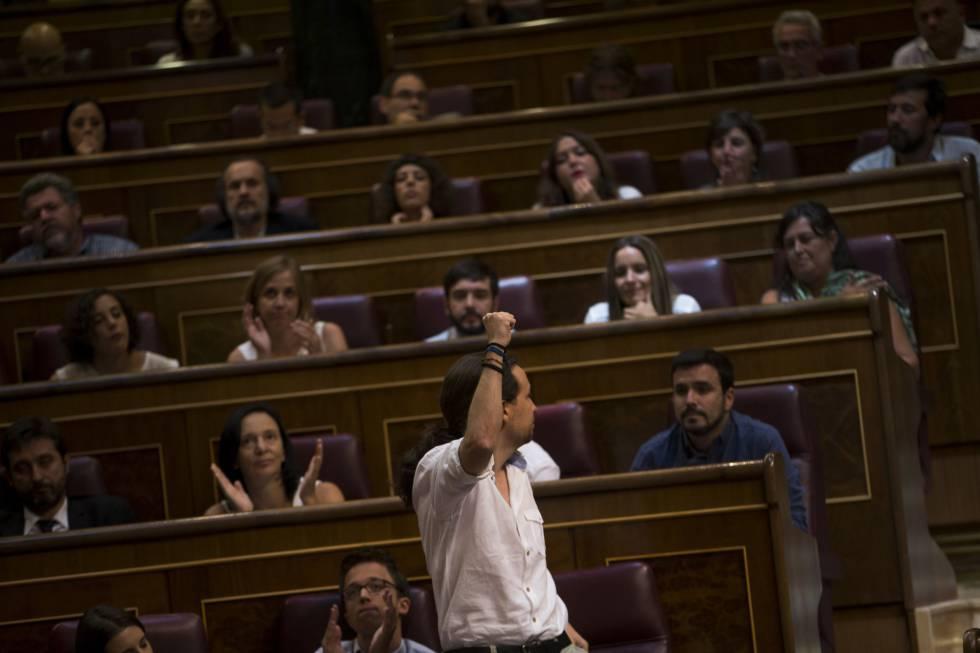Pablo Iglesias en la sesión parlamentaria del pasado 19 de julio.