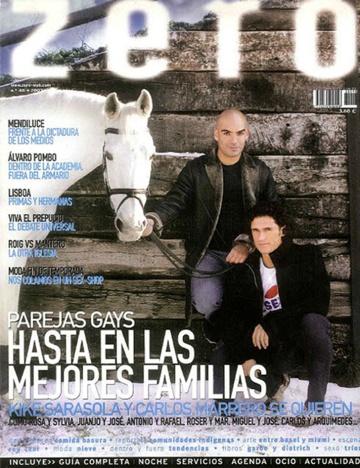 Kike Sarasola y Carlos Marrero, en la portada de febrero de 2003 de la revista 'Zero'.