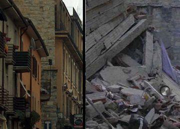 El antes y el después del pueblo de Amatrice tras el azote del terremoto