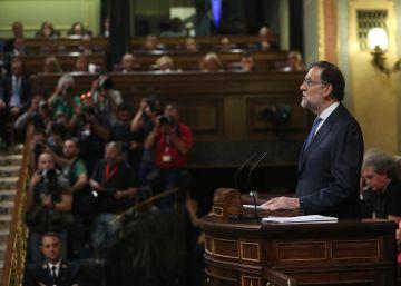 Mariano Rajoy hablando en el Congreso de los Diputados.