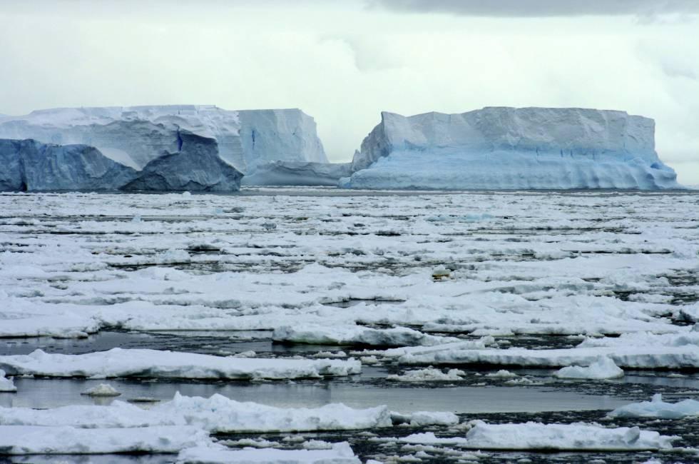 Fragmentos de la plataforma Wilkins de la Antártida desprendidos a causa del deshielo.