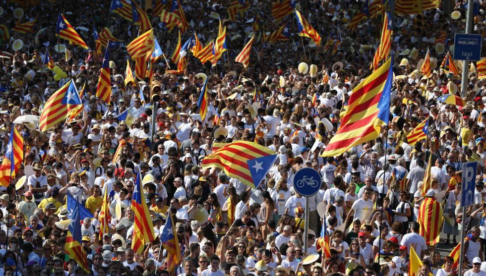 Multitudinaria manifestación el domingo en Barcelona con motivo de la Diada.