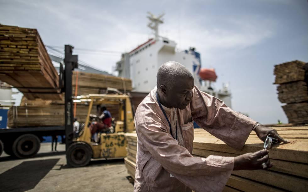 Control de planchas de madera antes de ser embarcadas en el puerto de Dakar (Senegal).