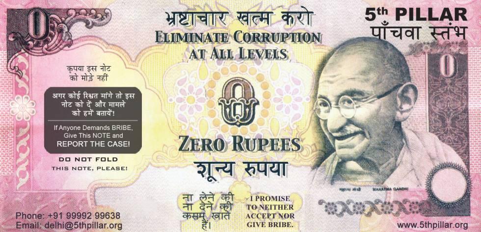 Billete de cero rupias contra la corrupción en India.