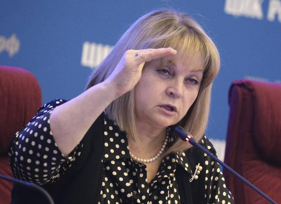 Ela Pamfílova, presidenta de la Comisión Electoral Central, durante una reunión el pasado día 15.