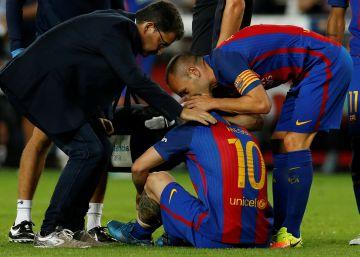 La lesión de Messi, en imágenes