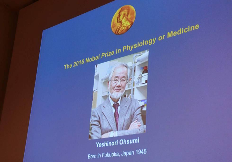 Una foto de Yoshinori Ohsumi, hoy, en el comité del Nobel en Estocolmo.