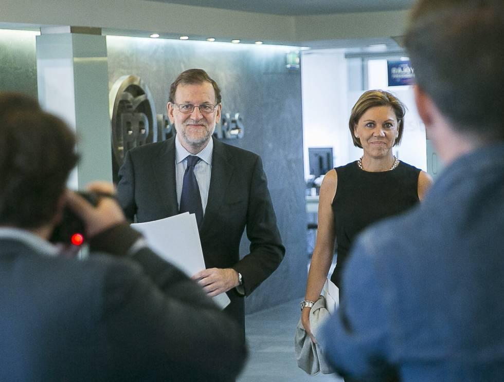 Mariano Rajoy y María Dolores de Cospedal en la sede del PP el 3 de octubre.