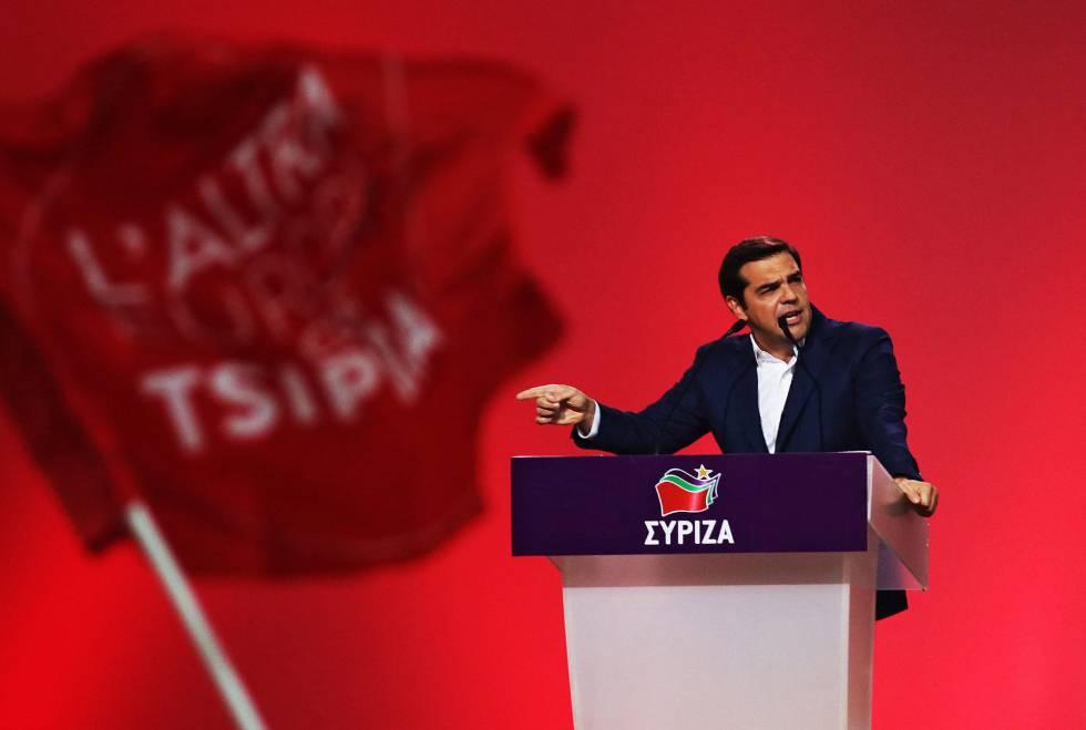 El primer ministro griego Alexis Tsipras, durante su intervención en el congreso de Syriza.