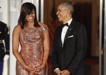 Michelle Obama se viste de Versace en su última cena de Estado