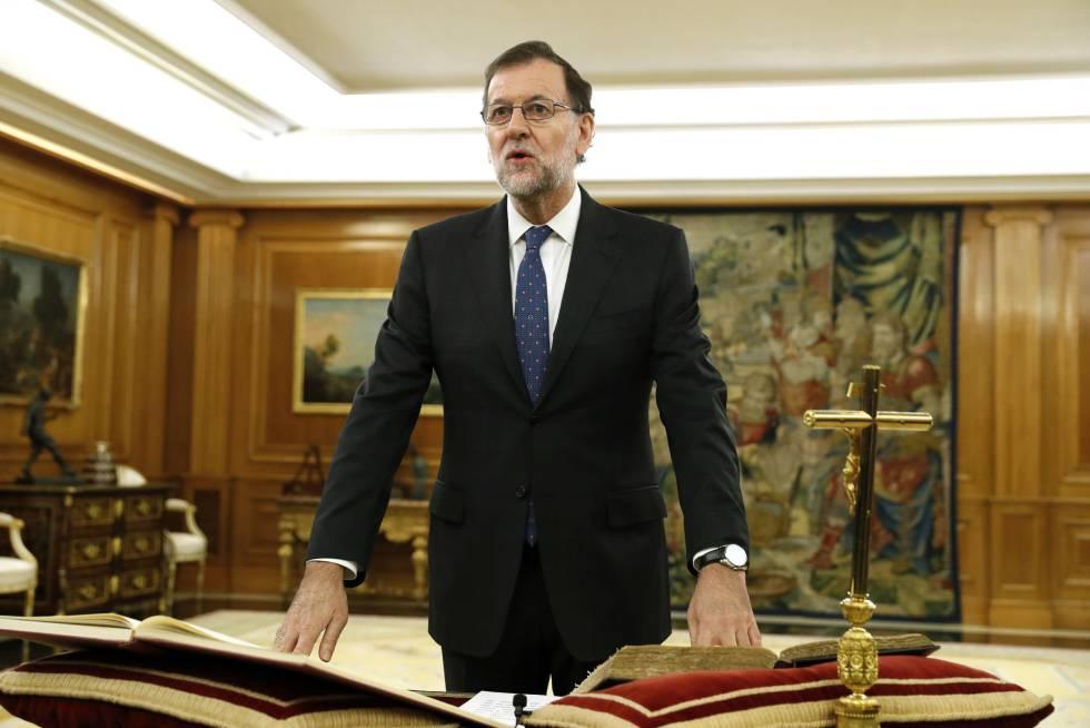 Mariano Rajoy en la jura de su cargo como jefe del Gobierno.