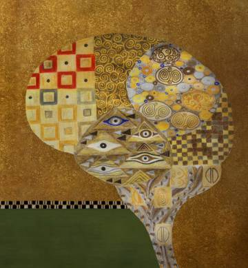 Metáfora del mosaicismo del cerebro basada en el 'Retrato de Adele Bloch-Bauer', de Gustav Klimt.rn rn