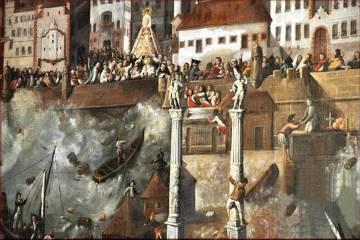 Pintura del Ayuntamiento de Cádiz que muestra los efectos del maremoto de 1755 desde el puerto.