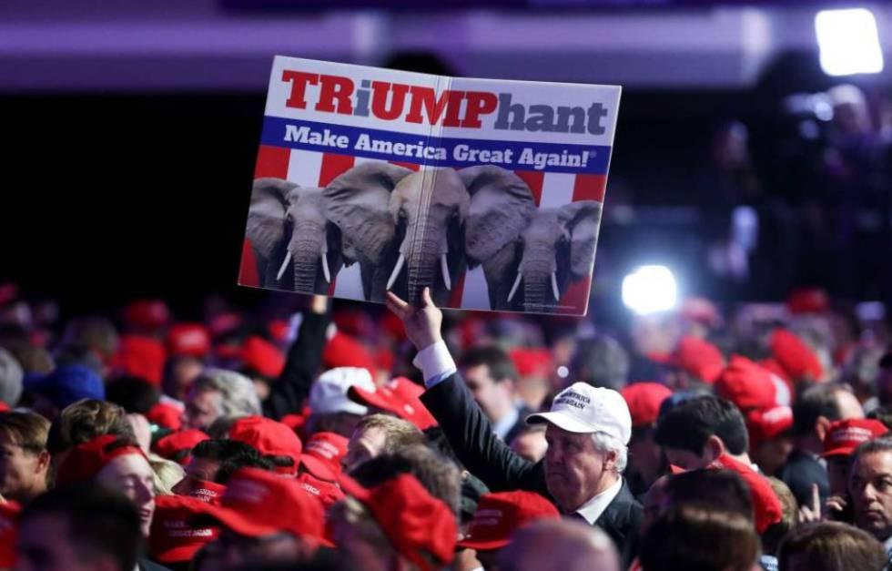 Celebración del triunfo de Donald Trump en la sede de los republicanos en Nueva York