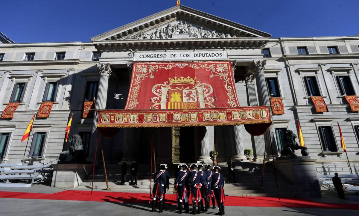 Fachada del Congreso durante la apertura de las Cortes.