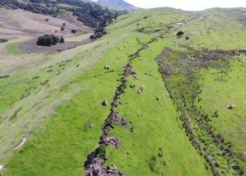La fractura del campo en Nueva Zelanda, a vista de dron tras el terremoto