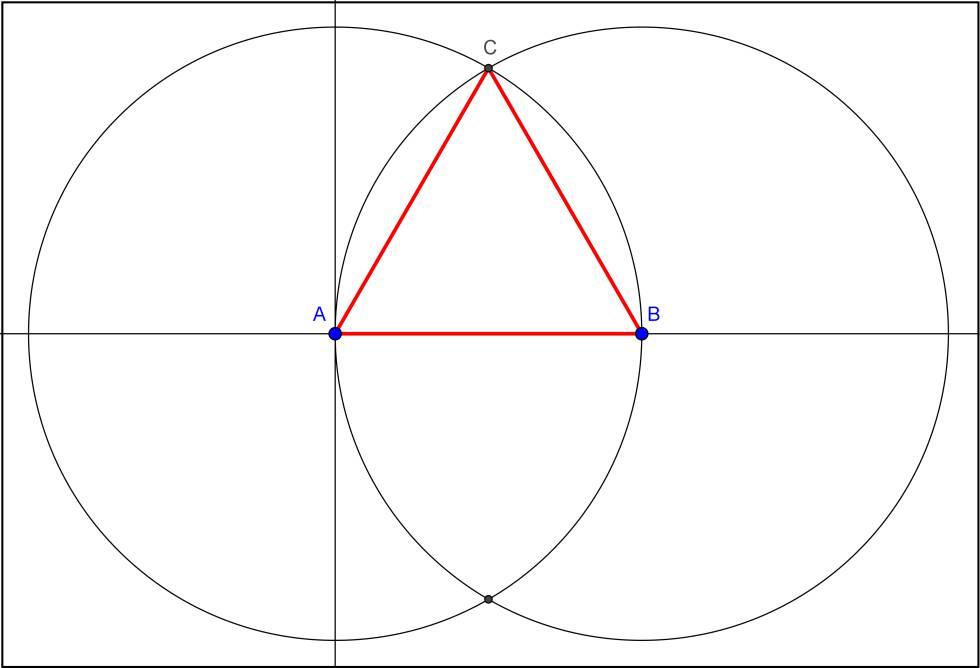 Construcción de un triángulo equilátero con regla y compás.