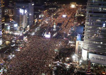 Un mar de velas contra la presidenta de Corea del Sur