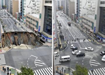 Los japoneses hacen desaparecer este agujero gigante en menos de una semana