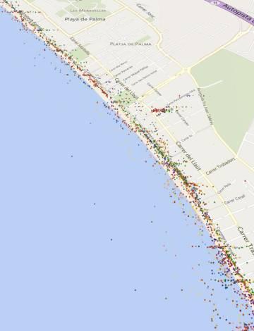 Mapa de detección de dispositivos móviles a las 18 horas de un día laborable en la zona urbana de la Playa de Palma, que se utilizan para inventariar los movimientos de los usuarios.