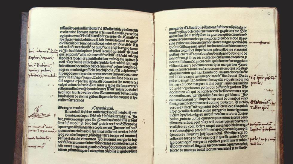 """""""El libro de las maravillas"""", de Marco Polo, anotado en los márgenes por Cristóbal Colón."""