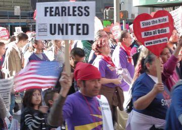 Los inmigrantes marchan contra Donald Trump