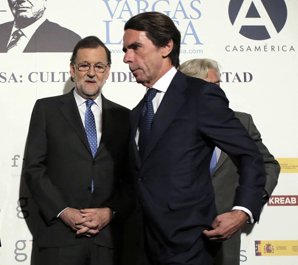 Frío encuentro de Rajoy y Aznar en el cumpleaños de Vargas Llosa.