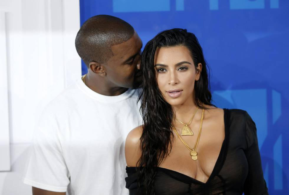 Kanye West y Kim Kardashian en los MTV Video Music Awards 2016.