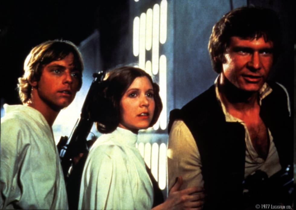 Mark Hamill, Carrie Fischer y Harrison Ford, en 'Star Wars'.