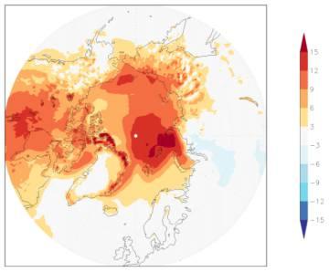 En los meses de noviembre y diciembre las temperaturas en grandes zonas del Ártico se han situado muy por encima de lo normal.