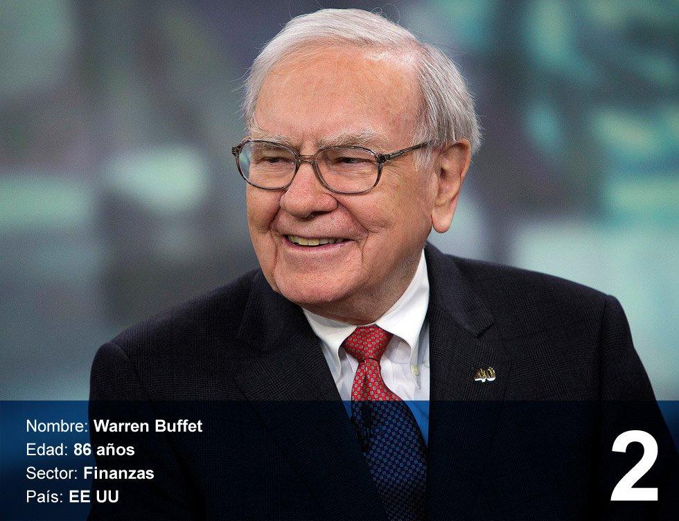 """Warren Buffet. 73.100 millones de dólares.  Nació en Omaha, Nebraska (Estados Unidos), en 1930. Se graduó en Economía en la Universidad de Columbia en 1951. Casado y con tres hijos, en los años setenta fundó su firma de inversiones, Berkshire Hathaway. Es conocido como el 'Oráculo de Omaha' porque en las grandes crisis siempre acertó con sus apuestas económicas. Se le han otorgado muchas frases que los inversores de Bolsa repiten como un mantra. """"Nunca inviertas en un negocio que no seas capaz de comprender"""", es una de ellas."""