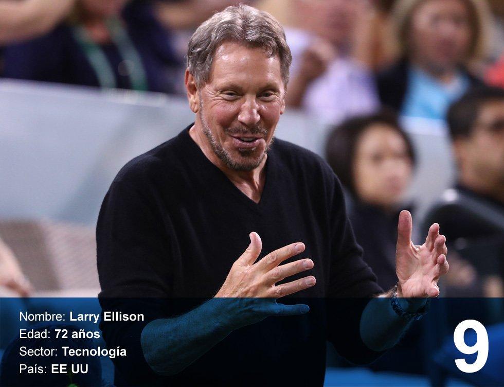 Larry Ellison. 41.500 millones de dólares.  Es el fundador y principal accionista de Oracle. Nacido en el Bronx (Nueva York) en 1944, es padre de dos hijos. Creó la empresa como un sistema de bases de datos en 1977 junto a dos socios. Además de ser el accionista mayoritario de este gigante del 'software', tiene acciones de varias empresas tecnológicas y ha financiado diversos eventos deportivos.