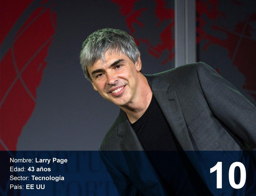 Larry Page. 39.900 millones de dólares.  Nacido en East Lansing, Michigan (Estados Unidos) en 1973, se doctoró en Stanford en 1995 y comenzó a trabajar junto a Sergey Brin en un proyecto de búsquedas en Internet. En 1998, tras conseguir financiación, lanzaron Google. La empresa terminó 2016 como la segunda compañía más valiosa del mundo en Bolsa.